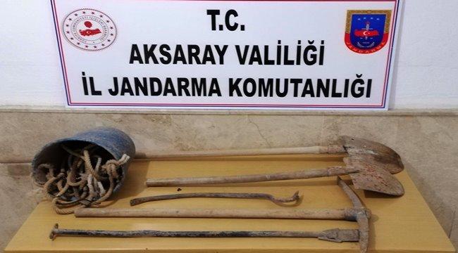 AKSARAY'DA JANDARMADAN DEFİNECİLERE SUÇÜSTÜ OPERASYON 7 GÖZALTI