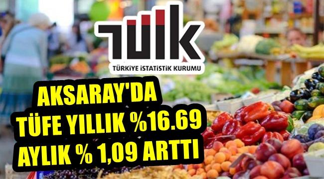 AKSARAY'DA TÜFE YILLIK %16.69 AYLIK % 1,09 ARTTI