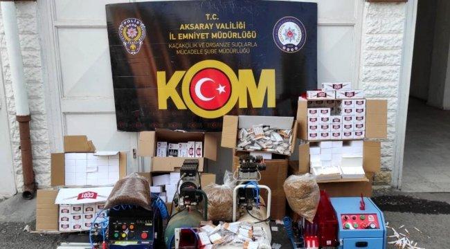 Aksaray'da Gizli bölmede 7 bin 550 adet kaçak dolum sigara ele geçirildi